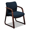 HON 2900 Series Guest Arm Chair, Blue Fabric/Mahogany Finish Wood