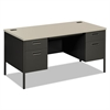 HON Metro Classic Double Pedestal Desk, 60w x 30d x 29 1/2h, Gray Patterned/Charcoal