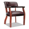 Alera Traditional Series Guest Arm Chair, Mahogany Finish/Oxblood Vinyl