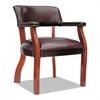 Alera Alera Traditional Series Guest Arm Chair, Mahogany Finish/Oxblood Vinyl