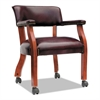 Alera Traditional Series Guest Arm Chair w/Casters, Mahogany/Oxblood Vinyl