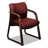 2900 Series Guest Arm Chair, Burgundy Fabric/Mahogany Finish Wood