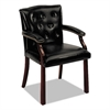 HON 6540 Series Guest Arm Chair, Mahogany/Black Vinyl Upholstery