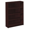 HON 1870 Series Bookcase, Four Shelf, 36w x 11 1/2d x 48 3/4h, Mahogany