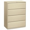 800 Series Four-Drawer Lateral File, 42w x 19-1/4d x 53-1/4h, Putty