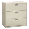 600 Series Three-Drawer Lateral File, 42w x 19-1/4d, Light Gray