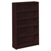 HON 1870 Series Bookcase, Five Shelf, 36w x 11 1/2d x 60 1/8h, Mahogany