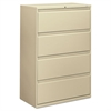 800 Series Four-Drawer Lateral File, 36w x 19-1/4d x 53-1/4h, Putty