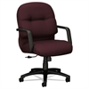 HON 2090 Pillow-Soft Series Managerial Mid-Back Swivel/Tilt Chair, Wine Fabric/Black