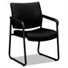 VL443 Series Guest Chair with Black Fabric, Black Frame & Sled Base