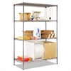 Alera Wire Shelving Starter Kit, Four-Shelf, 48w x 24d x 72h, Black Anthracite