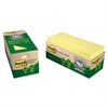 Recycled Note Pad Cabinet Pack, 3 x 3, Canary Yellow, 75-Sheet, 24/Pack