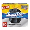 Glad Drawstring Outdoor Trash Bags, ForceFlex, 1.1 mil, 30 x 32, Black, 50/Box