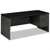 38000 Series Right Pedestal Desk, 66w x 30d x 29-1/2h, Mahogany/Charcoal
