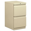 Efficiencies Mobile Pedestal File w/Two File Drawers, 19-7/8d, Putty
