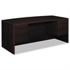 10500 Series Bow Front Desk, 3/4-Height Dbl Peds, 72 x 36 x 29-1/2, Mahogany