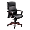 HON 5000 Series Executive High-Back Swivel/Tilt Chair, Black Leather/Mahogany