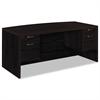 HON Valido 11500 Bow Top Double Pedestal Desk, 72w x 36d x 29 1/2h, Mahogany
