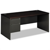 38000 Series Left Pedestal Desk, 66w x 30d x 29-1/2h, Mahogany/Charcoal