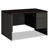 HON 38000 Series Right Pedestal Desk, 48w x 30d x 29-1/2h, Mahogany/Charcoal
