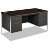 Mentor Series Double Pedestal Desk, 60w x 30d x 29-1/2h, Mahogany/Charcoal