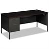 Metro Classic Left Pedestal Desk, 66w x 30d, Mahogany/Charcoal