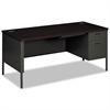 Metro Classic Right Pedestal Desk, 66w x 30d, Mahogany/Charcoal