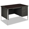 HON Mentor Series Single Pedestal Desk, 48w x 30d x 29-1/2h, Mahogany/Charcoal