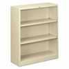 Metal Bookcase, Three-Shelf, 34-1/2w x 12-5/8d x 41h, Putty