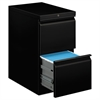 HON Efficiencies Mobile Pedestal File w/Two File Drawers, 22-7/8d, Black
