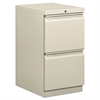 HON Efficiencies Mobile Pedestal File w/Two File Drawers, 19-7/8d, Light Gray