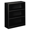 Metal Bookcase, Three-Shelf, 34-1/2w x 12-5/8d x 41h, Black