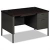 HON Metro Classic Right Pedestal Desk, 48w x 30d x 29 1/2h, Mahogany/Charcoal