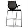 HON Nucleus Series Café-Height Stool, Black ilira-stretch M4 Back, Black Seat