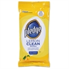 Pledge Lemon Scent Wet Wipes, Cloth, 7 x 10, White, 24/Pack