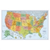 Rand McNally U.S. Physical/Political Map, Dry Erase, Single Roller Mounted, 50 x 32