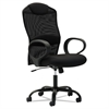 Mesh High-Back Task Chair, Fixed Loop Arms, Black