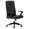 Executive High-Back Chair, Fixed Open Loop Arms, Black