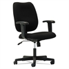 Upholstered Mid-Back Task Chair, Height Adjustable T-Bar Arms, Black