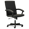 Executive Mid-Back Chair, Fixed Curved Loop Arms, Black