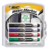 BIC Low Odor and Bold Writing Dry Erase Marker Kit, Chisel Tip, Assorted, 4/Pack