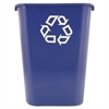 Rubbermaid Commercial Large Deskside Recycle Container w/Symbol, Rectangular, Plastic, 41.25qt, Blue