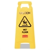 Caution Wet Floor Floor Sign, Plastic, 11 x 1 1/2 x 26, Bright Yellow, 6/Carton