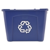 Rubbermaid Commercial Stacking Recycle Bin, Rectangular, Polyethylene, 14gal, Blue