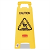 "Rubbermaid Commercial Multilingual ""Caution"" Floor Sign, Plastic, 11 x 1 1/2 x 26, Bright Yellow"