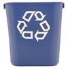 Small Deskside Recycling Container, Rectangular, Plastic, 13.625qt, Blue