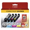 Canon 0373C005 (PGI-270; CLI-271) Inks & Paper Pack, 50 Sheets, 4 x 6