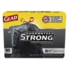 Glad Drawstring Large Trash Bags, 30 x 33, 30gal, 1.1mil, Black, 90/Carton