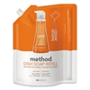 Method Dish Soap Refill, Clementine Scent, 36 oz Pouch, 6/Carton