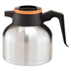 BUNN 1.9 Liter Thermal Carafe, Stainless Steel/ Black and Orange (Decaf)
